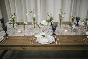 Rustic and Modern Wedding Reception Tablescape Flower Centerpiece Fairlie Chicago