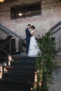 Rustic and Modern Wedding Staircase Floral Decor Fairlie Chicago