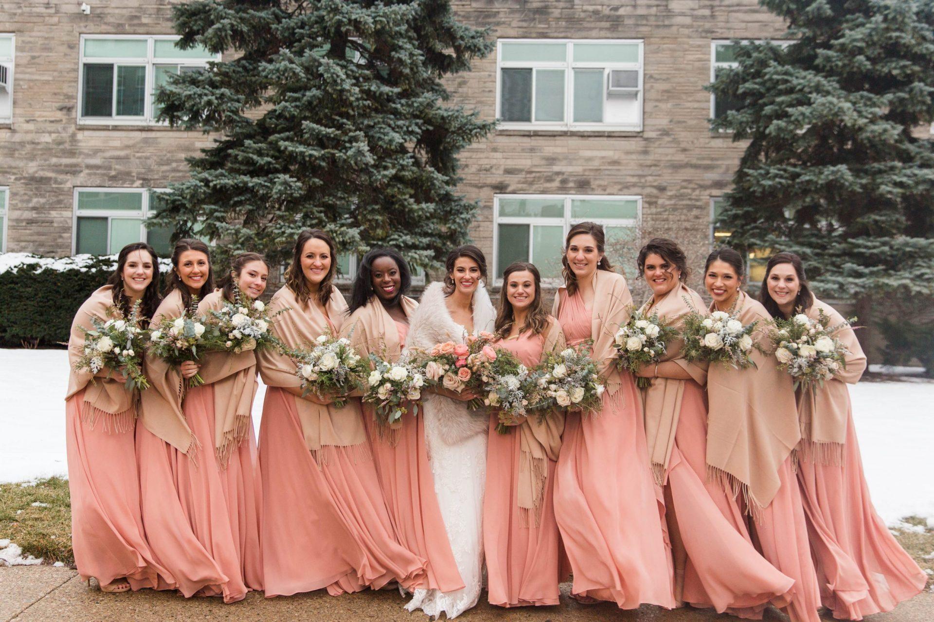 Romantic Winter Wedding Bridesmaid Bouquets Flowers Morgan Manufacturing Chicago
