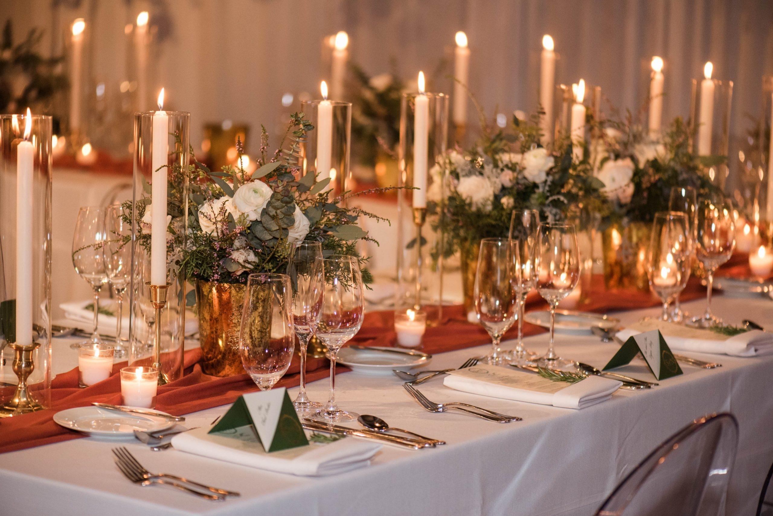 Romantic Winter Wedding Reception Table