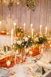 Romantic Winter Wedding Reception Table and Centerpieces