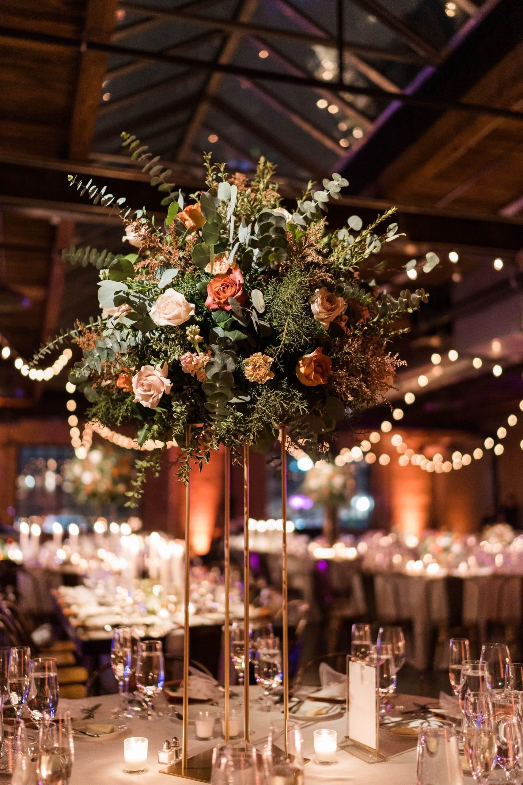 Romantic Winter Wedding Tall Centerpiece