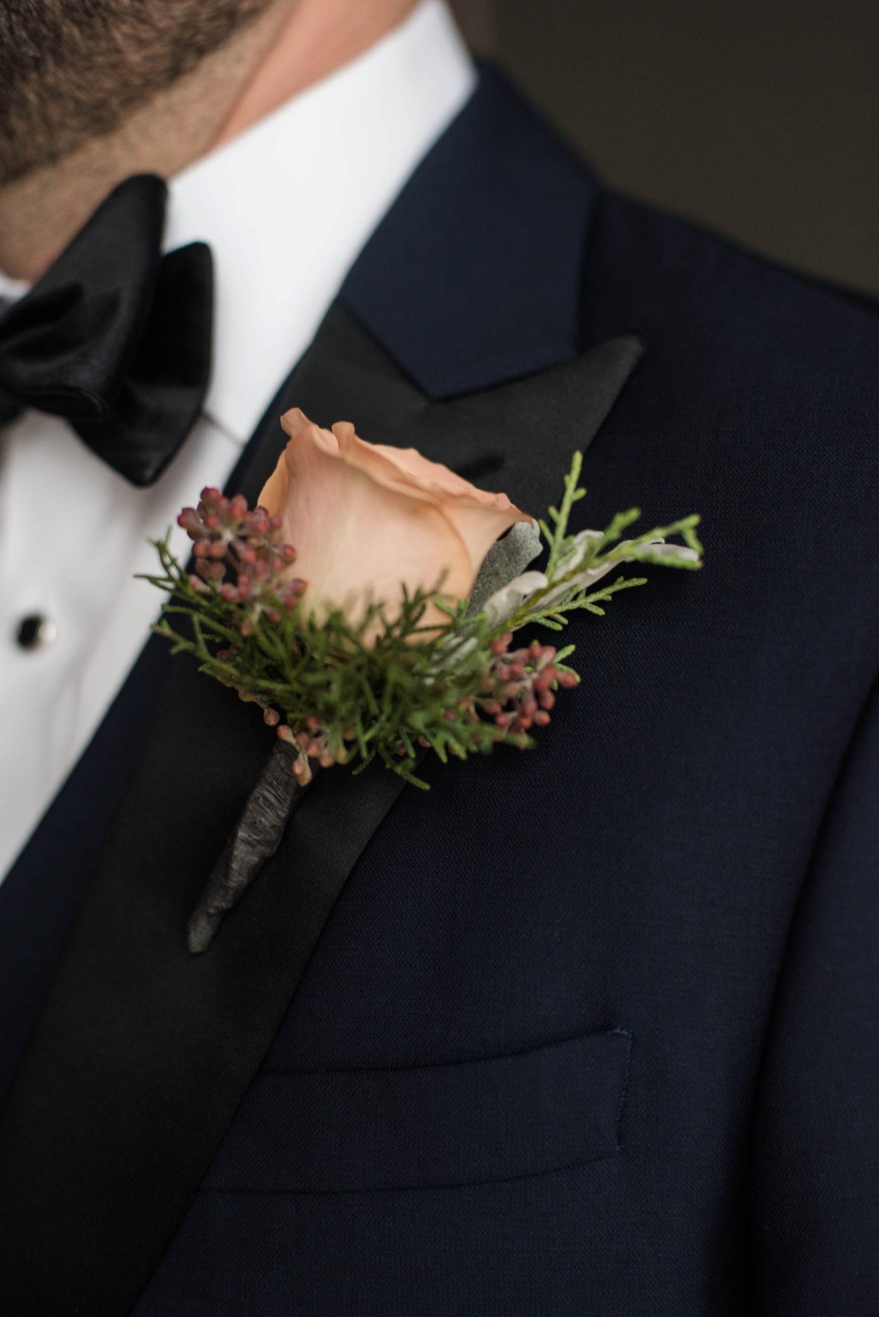 Romantic Winter Wedding Boutonniere